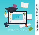 online education concept.... | Shutterstock .eps vector #722261962