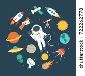 space objects. astronaut ... | Shutterstock .eps vector #722262778