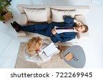 overhead view of psychologist... | Shutterstock . vector #722269945