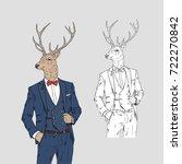 deer dressed up in classy style ... | Shutterstock .eps vector #722270842