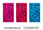 three mobile wallpapers. wave... | Shutterstock .eps vector #722285155
