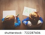 kids learn to write letters  do ... | Shutterstock . vector #722287606