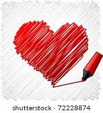 scribbled heart shape.   Shutterstock .eps vector #72228874