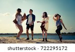 group of friends partying and... | Shutterstock . vector #722295172