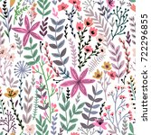 cute floral seamless pattern... | Shutterstock .eps vector #722296855