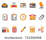 orange office and documents... | Shutterstock .eps vector #722306968