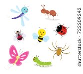 set of insect. vector... | Shutterstock .eps vector #722309242