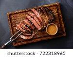 sliced grilled meat steak rib... | Shutterstock . vector #722318965