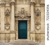 Small photo of Lecce (Italy), August 2017. View of the portal and a portion of the façade of the church of Santa Chiara.