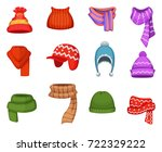 set of winter scarfs and caps... | Shutterstock .eps vector #722329222