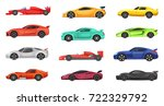 different sport cars isolated... | Shutterstock .eps vector #722329792
