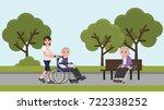 senior man in wheelchair with...   Shutterstock .eps vector #722338252