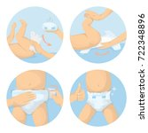 changing diapers steps... | Shutterstock . vector #722348896