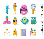 set of school funny office... | Shutterstock .eps vector #722358385