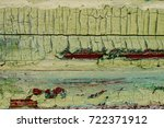 old weathered painted wooden... | Shutterstock . vector #722371912