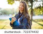 portrait of female university... | Shutterstock . vector #722374432