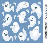 cartoon spooky ghost halloween... | Shutterstock .eps vector #722377318