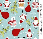 cute christmas holiday seamless ... | Shutterstock .eps vector #722379106