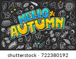 hello autumn message in pop art ... | Shutterstock .eps vector #722380192