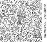 cartoon hand drawn hippie... | Shutterstock .eps vector #722380522
