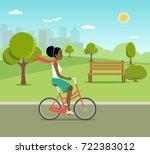 afro american woman riding a... | Shutterstock .eps vector #722383012