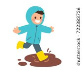 cute cartoon boy in raincoat... | Shutterstock .eps vector #722383726