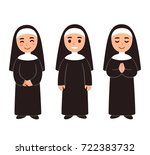 cute cartoon nun drawing set ...