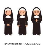cute cartoon nun drawing set ... | Shutterstock .eps vector #722383732