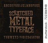 scratched metal typeface. retro ... | Shutterstock .eps vector #722386948