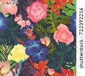seamless pattern  rose ...   Shutterstock .eps vector #722392216
