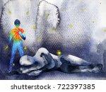 power man helping sad man to... | Shutterstock . vector #722397385