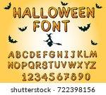 grunge halloween font. vector... | Shutterstock .eps vector #722398156