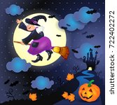 halloween night with old witch  ... | Shutterstock .eps vector #722402272