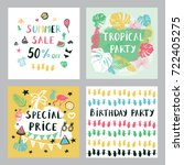summer cards set. | Shutterstock . vector #722405275