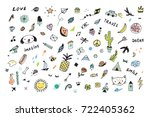 doodle colorful objects funny... | Shutterstock . vector #722405362