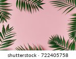 green leaves of palm tree on... | Shutterstock . vector #722405758