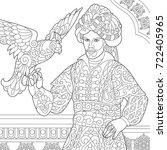 coloring page of ottoman sultan ...   Shutterstock .eps vector #722405965