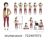 set of emotions and poses for... | Shutterstock .eps vector #722407072
