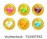 cartoon golden decorative coins ... | Shutterstock .eps vector #722407552
