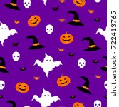 happy halloween seamless... | Shutterstock . vector #722413765