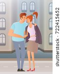 young couple on city street.... | Shutterstock .eps vector #722415652