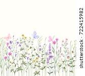 meadow flowers . seamless... | Shutterstock .eps vector #722415982