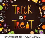 trick or treat frase written in ... | Shutterstock .eps vector #722423422