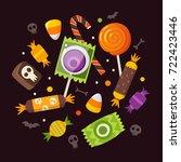 bunch of halloween sweets and...   Shutterstock .eps vector #722423446