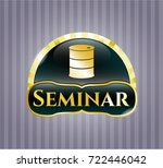 gold shiny badge with barrel... | Shutterstock .eps vector #722446042