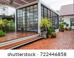 modern metal white building... | Shutterstock . vector #722446858