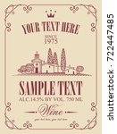 vector label for wine with a... | Shutterstock .eps vector #722447485