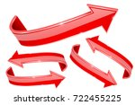 3d red arrows. set of shiny... | Shutterstock .eps vector #722455225