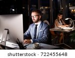 businessman in his office at... | Shutterstock . vector #722455648