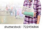 injured woman with green cast...   Shutterstock . vector #722456866